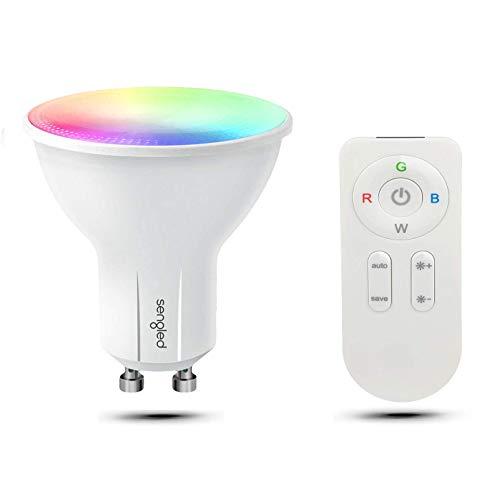 Sengled Bombillas con cambio de color GU10 con mando a distancia, color RGB regulable + blanco cálido 2700 K, bombilla LED de 9 W (equivalente a 60 W).