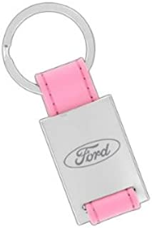 Ford Pink Leather Rectangle Key Chain Keychain Fob