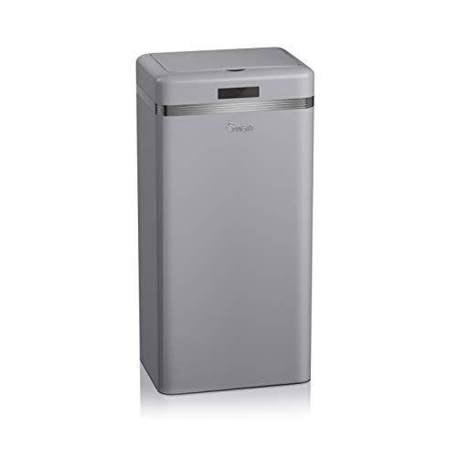 An image of the Swan Retro Square Kitchen Bin with Infrared Technology Sensor, Metal, Grey, 45 Litre