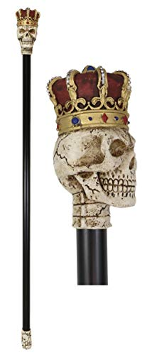Ebros Gothic Skull with Royal Regalia Crown of The King Decorative Prop Cosplay Walking Swagger Cane Ossuary Macabre Halloween Bone Skulls Skeletons Decor Gadget Accessory