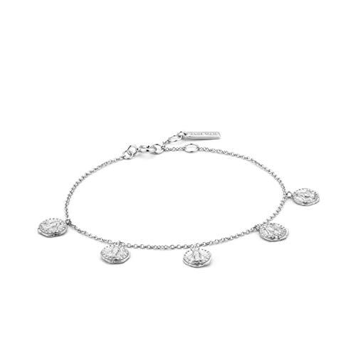 ANIA HAIE 925 Sterling Silver Boho Gypsy Disc Dangle Adjustable Coin Charms Bangle Bracelet for Women, Silver