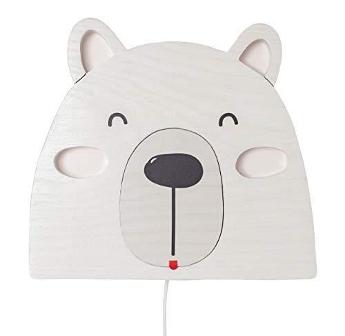 Clevere Kids Kinder Wandlampe Alle Meine Tiere Holz Handarbeit A++ (Kleiner Eisbär)