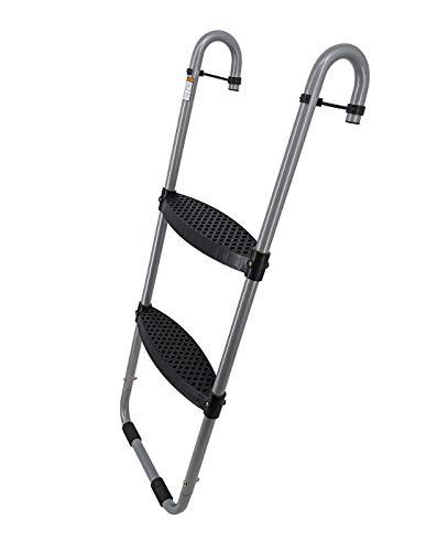Wide 2-Step Trampoline Ladder | Safety-Latch | No Slip | Cooler Surface | [Lifetime Parts Warranty]