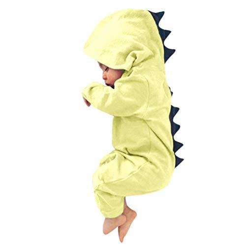 Newborn Baby Boy Girl Cute Dinosaur Hooded Romper Jumpsuit Clothes (3M, Yellow)