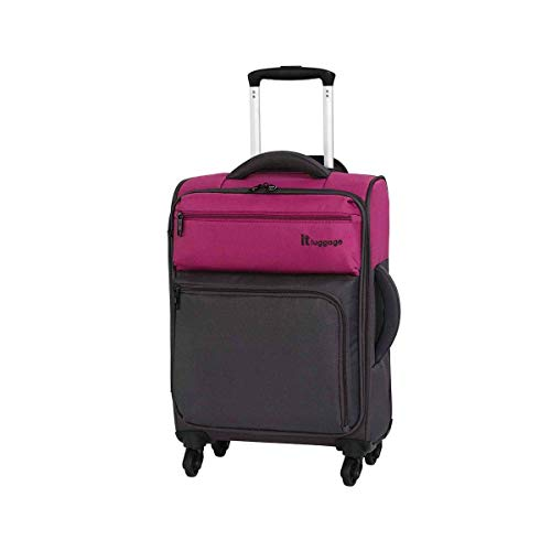 it luggage Duotone 4 Wheel Lightweight Cabin Suitcase, 53 cm, 34 L, Fuchsia Red + Magnet