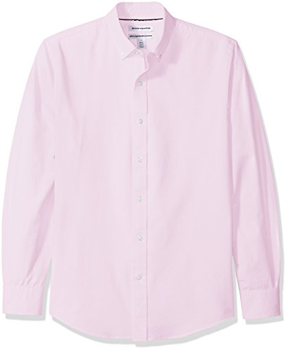 Amazon Essentials Men's Slim-Fit Long-Sleeve Solid Oxford Shirt, Pink, Large