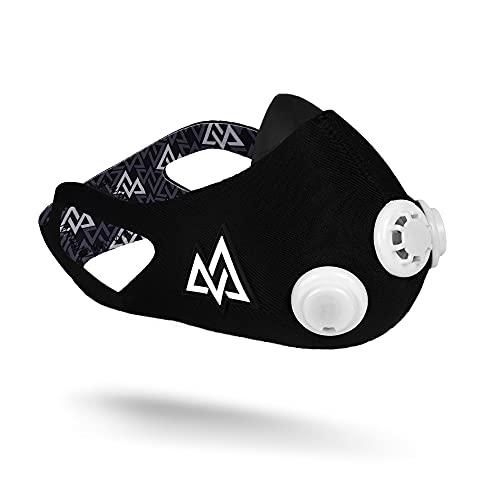 Training Mask - Maschera da allenamento 2.0 con custodia, maschera cardio allenamento per corsa, ciclismo ed esercizio, resistenza multi-livello, maschera nera, valvola bianca, grande
