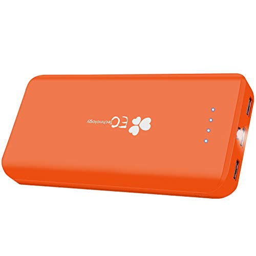 Batería Externa 22400mAh, Batería Portátil Cargador Móvil 3 Puertos Salida Power B ank EC con Luz LED Tecnología AUTO IC Carga Rápida Cable Micro USB Incluida Compatible con iPhone Andriod Tabletas