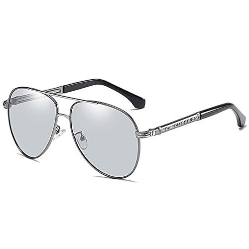 BEIAKE Gafas De Sol Piloto Gafas Polarizadas De Adultos Gafas De Sol De Estilo Día Y De Noche Adecuado para Ciclismo, Correr, Viajar, Playa, Gafas De Manejo,Plata