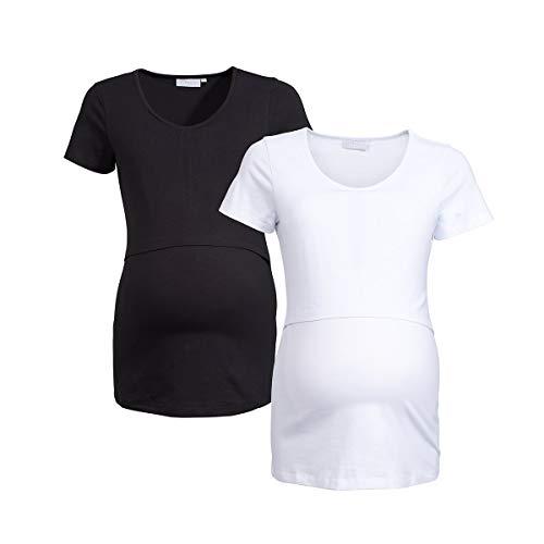 2HEARTS Lot de 2 T-Shirts de Grossesse et d'allaitement GOTS T-Shirt de Grossesse T-Shirt de Grossesse, Noir/Blanc