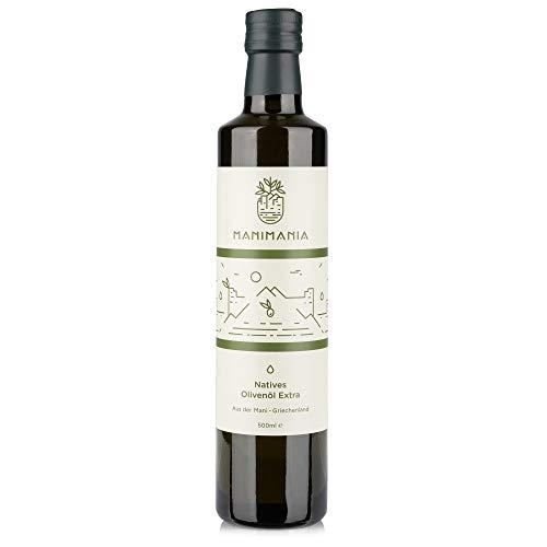 Manimania - natives Olivenöl extra Flasche 500 ml kaltgepresst, Premium-Speiseöl aus griechischen Koroneiki Oliven