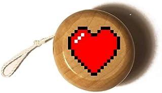 Hat Shark 8-Bit Heart Video Game - Printed in Full Color Wooden Yo-Yo