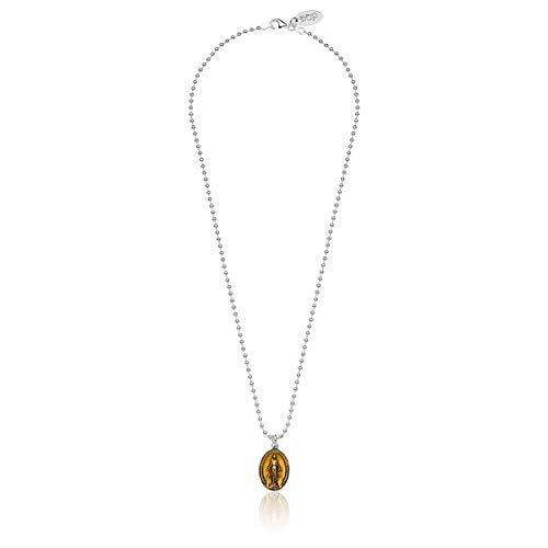 Gioielli DOP - Collar Boule 42 cm - Charm Virgencita Milagrosa - Esmalte Antirayaduras - Hecho a Mano en Italia - Hipoalergénico - Plata de Ley 925 - Color Amarillo - Garantía de 2 Años