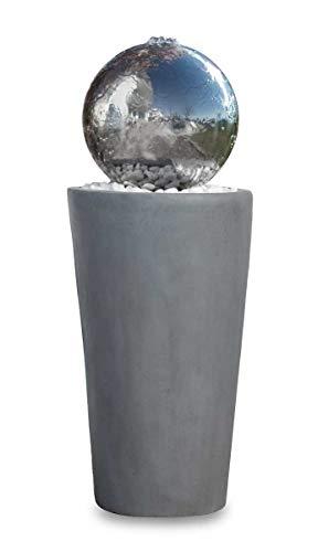 Kiom Kugelbrunnen Gartenbrunnen Brunnen FoBoule Grey mit Edelstahlkugel 75cm 10865