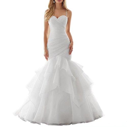 RJOAMEUDRESS Sweetheart Meerjungfrau Brautkleid ärmellosen Brautkleider für Braut Weiß Größe 32