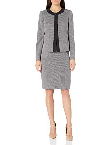 Le Suit Women's 1 Button Two Tone Novelty Slim Skirt Suit, Black/White, 18