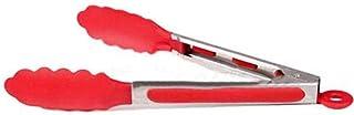 سيليكون الفولاذ المقاوم للصدأ طبخ مطبخ ملاقط الطعام أدوات شواء السلطة لحم الخنزير المقدد أداة حمراء