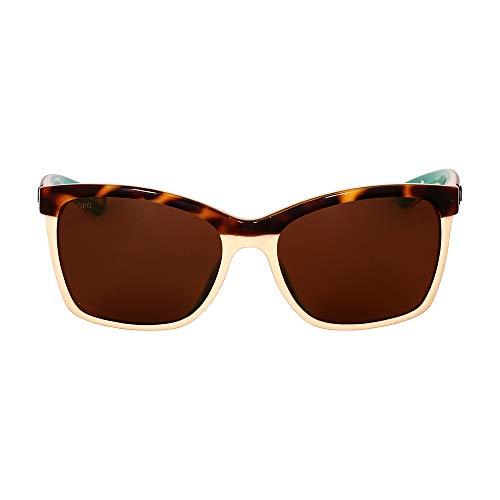 Costa Del Mar Women's Anaa Rectangular Sunglasses, Shiny Retro Tort/Cream/Mint Copper-580G, 55 mm