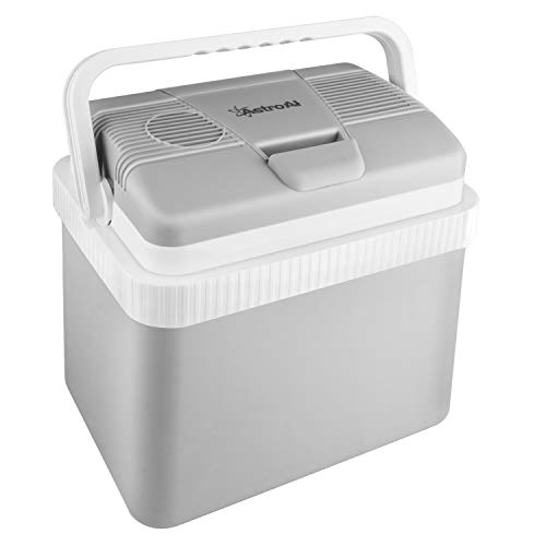 AstroAI Electric Cooler 26 Quarts/ 24 Liter Portable Thermoelectric Car Cooler for Beverage, Beer, Wine, Seafood, Fruits, Home and Travel with 2 Ice Packs (Gray)