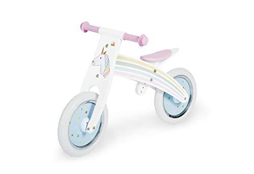 Pinolino Laufrad Einhorn, Laufrad Holz, mit Bedruckug, unplattbare Bereifung, umbaubar vom Chopper zum Laufrad, empfohlen ab 2 Jahren, bunt