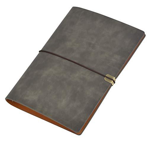 Carpeta de cuero A5 Diario Cuaderno Cuaderno Diario PU Hoja suelta Carpeta de anillas Manual Diario retro Diario de viaje - 100 Páginas Gris