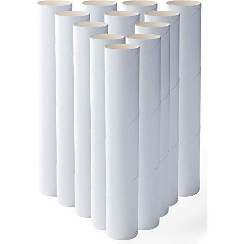 Paquete de 12 rollos para manualidades- Tubos de cartulina de 25,4 cm para niños, manualidades, proyectos de arte y escolares, en Blanco