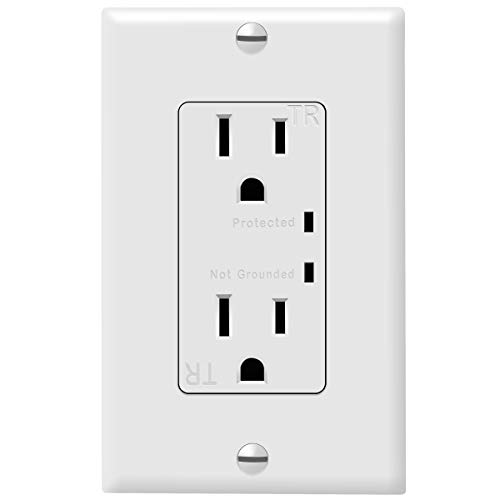 TOPGREENER TGTVSS215R TGTRSS215R Protector Receptacle with Grounding Indicator, Surge Protected Outlet