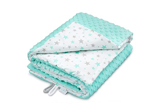 EliMeli Minky Babydecke Kuscheldecke Krabbeldecke | super weichem Minky Dots Polar Fleece | Baumwolle | Füllung | 75x100 hoch Qualität (Mint - Mint Stars)
