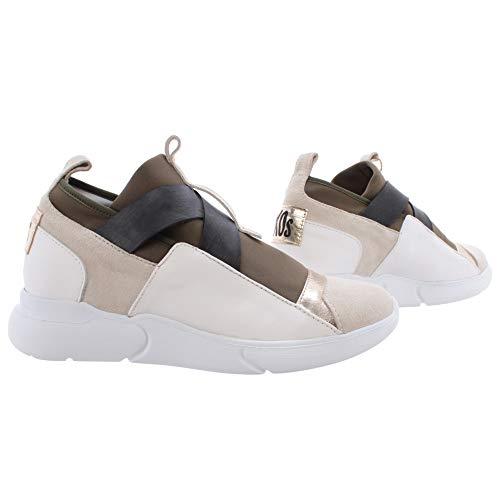 IXOS Damen Schuhe Sneakers Multicolor Beige Gold Kaki Leder Slip On Neu