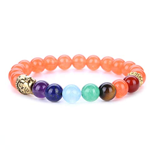 YAZILIND 8mm Energy Gemstone Jefes budistas Forma Yoga Budismo Pulsera 7 Chakra Reiki Curación Equilibrio Pulseras de Piedra Natural (# 6)