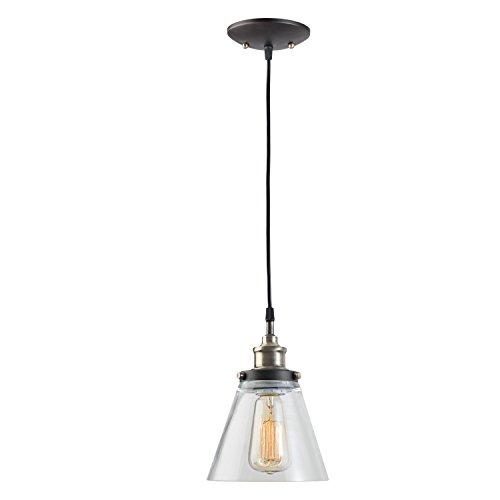 Globe Electric 64751 Edison Lámpara colgante de latón antiguo con pantalla de bronce aceitado Bronce antiguo y marrón con cubierta de vidrio transparente