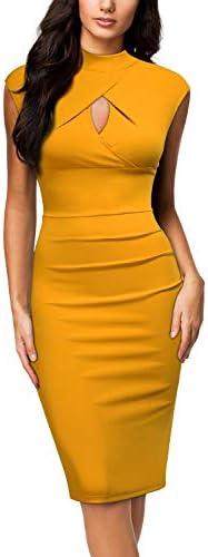 Miusol Women s Business Slim Style Ruffle Work Pencil Dress Medium A Yellow product image