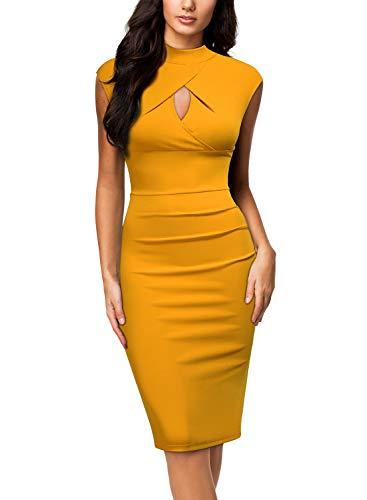 Vestido amarillo mostaza ajustado. Elegante y sugerente.