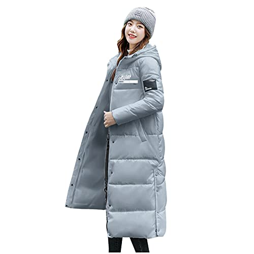 HUBA Abrigo para mujer con aspecto de plumón, resistente al viento, ligero, fino, chaqueta de plumón, abrigo con capucha, chaqueta amortiguadora para exterior, chaqueta de invierno cálida, azul, XL
