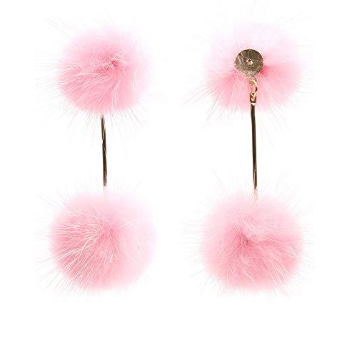 Longyitrade - Pendientes de moda para mujer, regalo de joyería de fiesta con colgante de doble pompón Rosa
