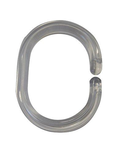 RIDDER 49400 Duschvorhangringe, transparent, 12 Stück passend für Duschvorhang 180 x 200 cm