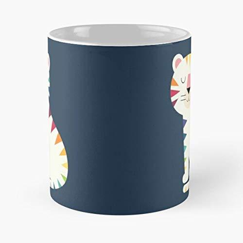 Rainbow Cute Special Beautiful Unique Tiger Love Gene - Tazze da caffè bianche da 11 oz, 15 oz in ceramica