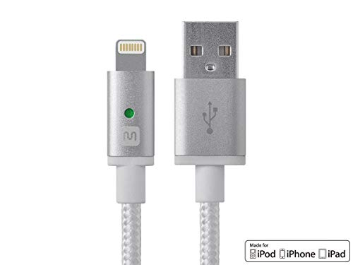 Monoprice Apple MFi Certified Lightning to USB Charge & Sync Cable - 6 Feet - White Compatible...