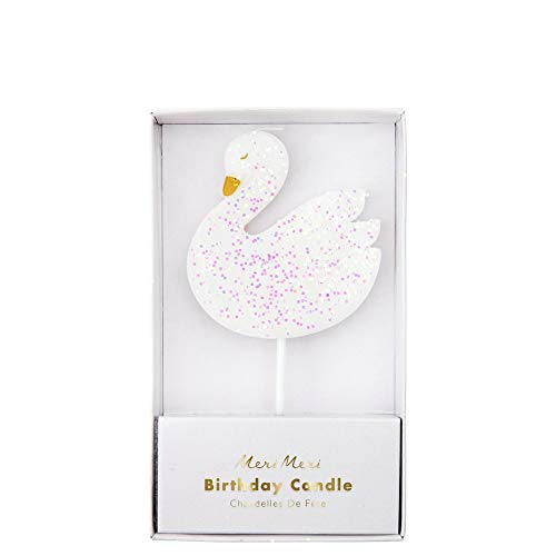 Meri Meri Large Swan Candle - Glitter Pink Accents - Birthday Candle