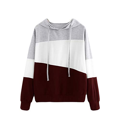 Otoño suéter de Color de Costura Mujer Suelta de Manga Larga con Capucha Camiseta de Mujer S-2XL