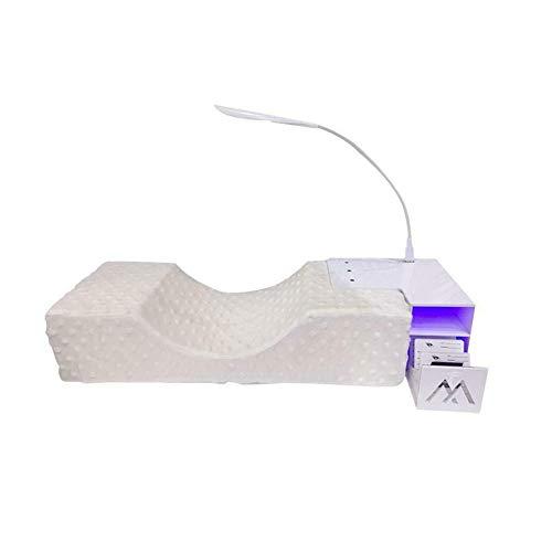KOET Wimpernverlängerungs-Set mit abnehmbarem U-förmigem Memory-Schaumkissen, Acryl-Ablage, verstellbares USB-LED-Licht, ergonomisches Make-up-Werkzeug für Schönheitssalon
