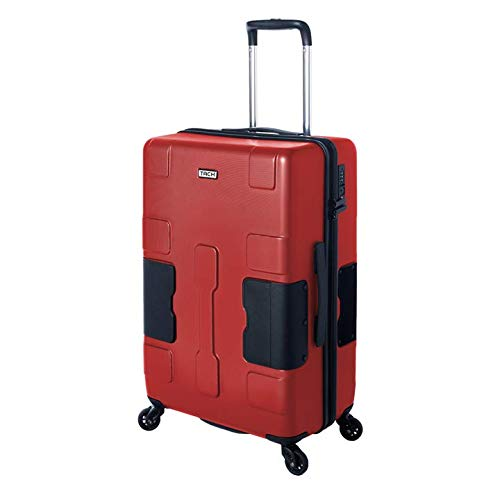 TACH V3 Hard Shell Carry On Luggage 22x14x9 | Carry on Luggage with Spinner Wheels & Patented Built-in Connecting System | One Piece Rolling Suitcase Links 6 Bags at Once - in Red