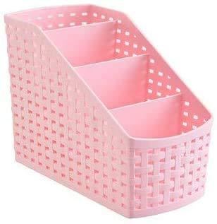 Cesta de almacenamiento, organizador de cosméticos multifunción, caja de almacenamiento de maquillaje, caja de almacenamiento de plástico, 4 cajas de almacenamiento de rejilla para escritorio, oficina, dormitorio, encimera, hogar, cocina, color rosa