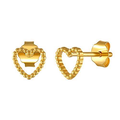 YAZILIND Love Pendientes de botón en forma de corazón Joyas de oreja de mamá para mujer (Oro)