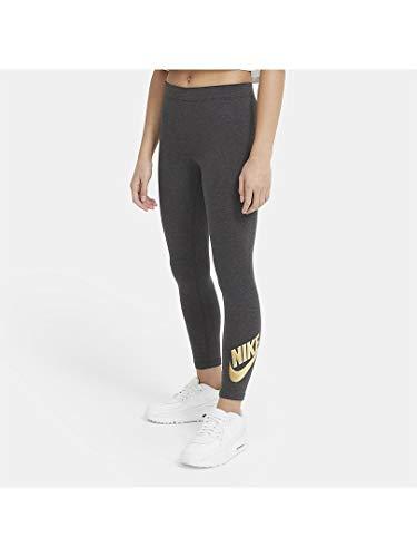 Nike Girls Nsw Favorites Shine Pr Tights, Black Heather/Metallic Gold, M