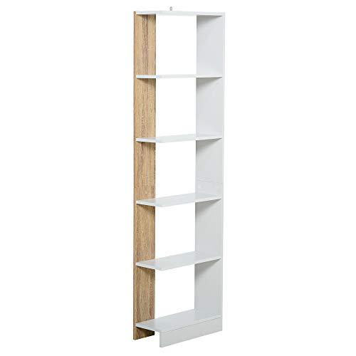 homcom Scaffale Libreria a Parete in Legno Color Rovere e Bianco con 5 Ripiani, Antiribaltamento, 45 x 21 x 170cm