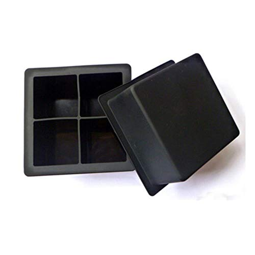 CTOBB 4-Cavity Großen Silikon-Getränk Eiswürfel Pudding Gelee-Seifen-Form-Form-Behälter-Werkzeug Big Size-Tropfen-Schiffs YL, Schwarz