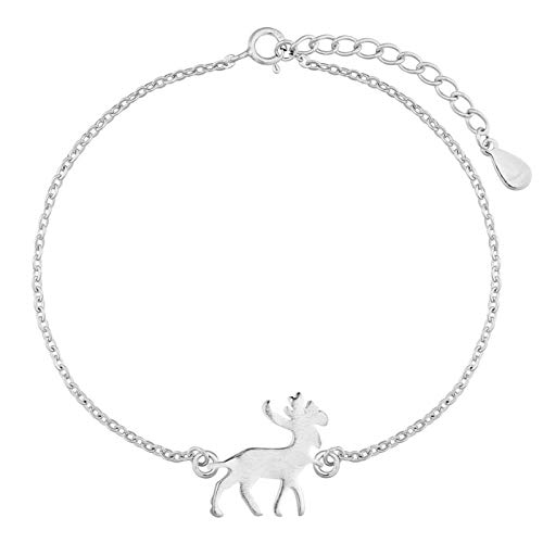 ZWXDMY 925 Sterling Silver Bracelet,Cute Elk Literary Fresh Forest Elf Charm Bracelets Trendy Resizable Jewelry Bangle For Gift Girls Lady Women Party Moden Wedding Gifts Bijou