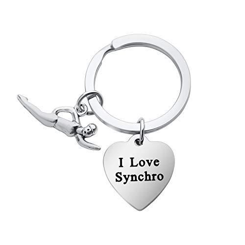 Mysomy - Portachiavi sincronizzato con scritta 'I Love Synchro, regalo per nuotatori sincronizzati/squadre di nuoto e Metallo