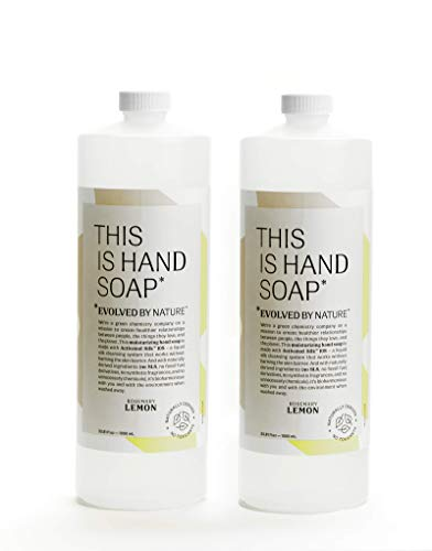Rosemary Lemon Hand Soap by Evolved By Nature (1 Liter, 2-Pack) - Contains Only 12 Naturally Derived Ingredients | Free of Irritants and SLS | Cruelty-Free Moisturizing Hand Wash